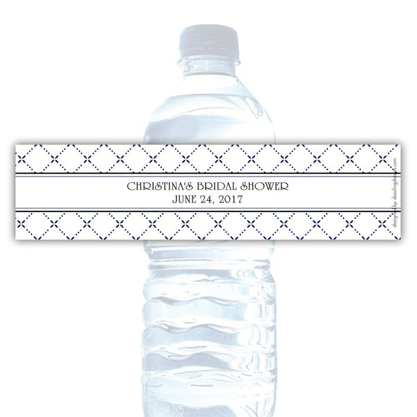 Water bottle labels 'Dazzling Diamonds' - Navy - Dazzling Daisies