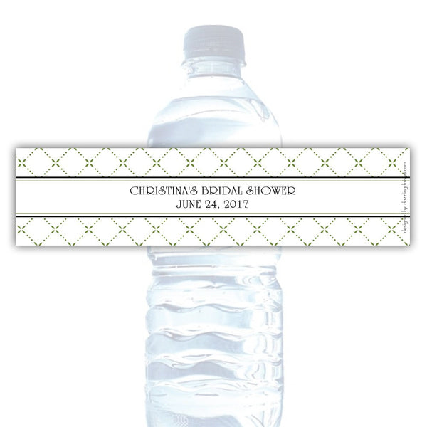 Water bottle labels 'Dazzling Diamonds' - Olive - Dazzling Daisies