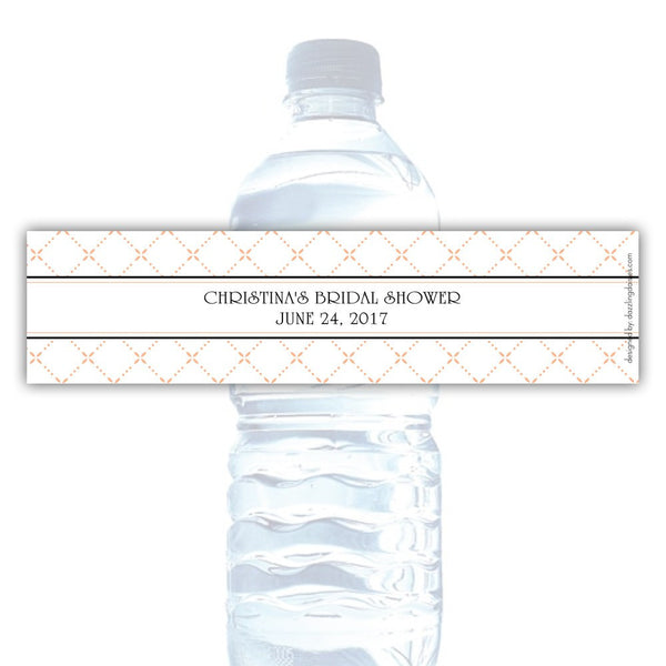 Water bottle labels 'Dazzling Diamonds' - Peach - Dazzling Daisies