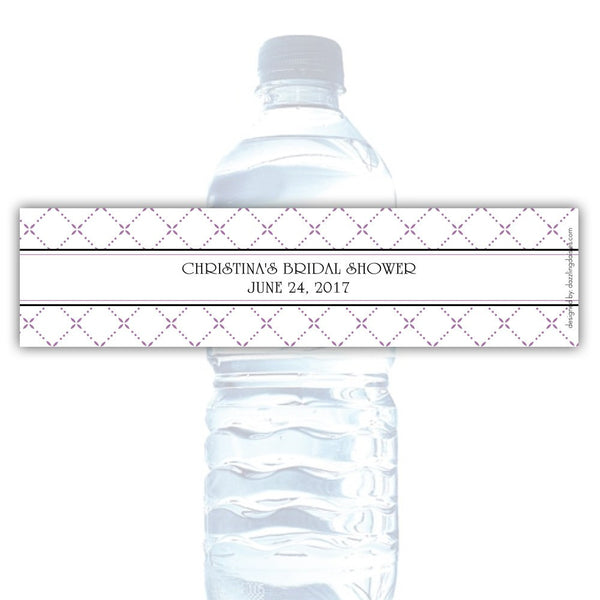 Water bottle labels 'Dazzling Diamonds' - Plum - Dazzling Daisies