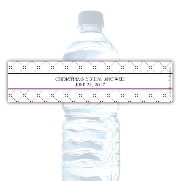 Water bottle labels 'Dazzling Diamonds' - Purple - Dazzling Daisies