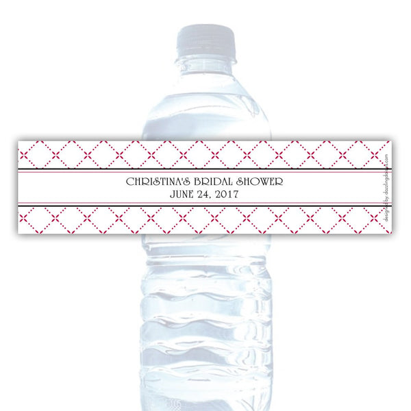 Water bottle labels 'Dazzling Diamonds' - Raspberry - Dazzling Daisies