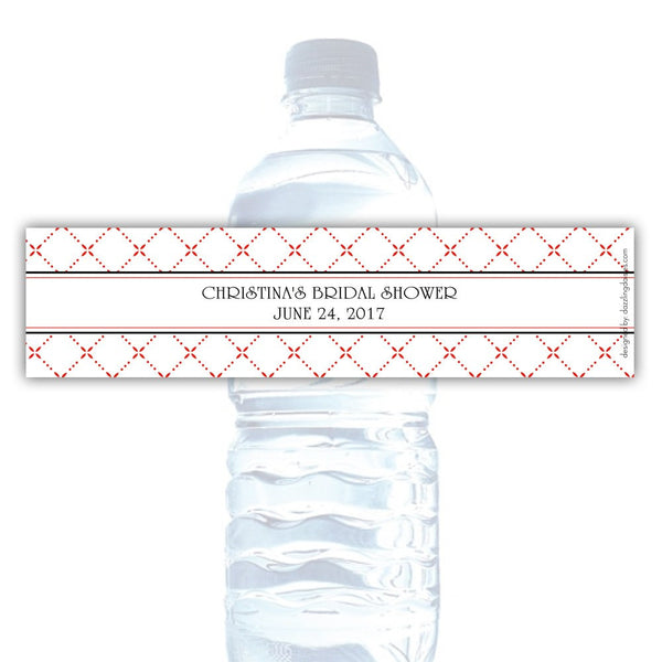 Water bottle labels 'Dazzling Diamonds' - Red - Dazzling Daisies
