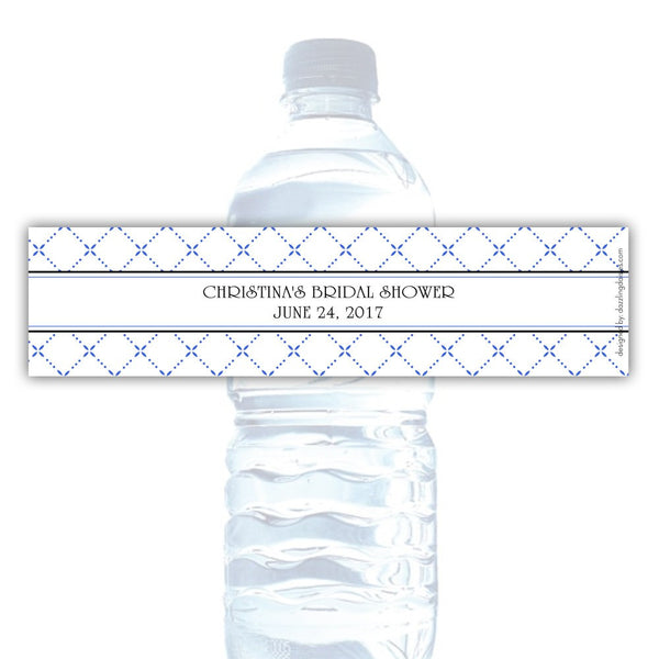 Water bottle labels 'Dazzling Diamonds' - Royal blue - Dazzling Daisies