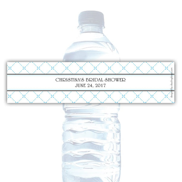 Water bottle labels 'Dazzling Diamonds' - Sky blue - Dazzling Daisies