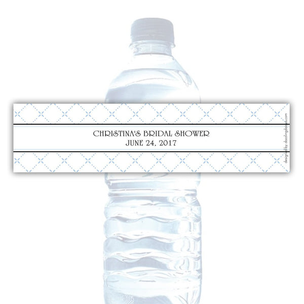 Water bottle labels 'Dazzling Diamonds' - Steel blue - Dazzling Daisies