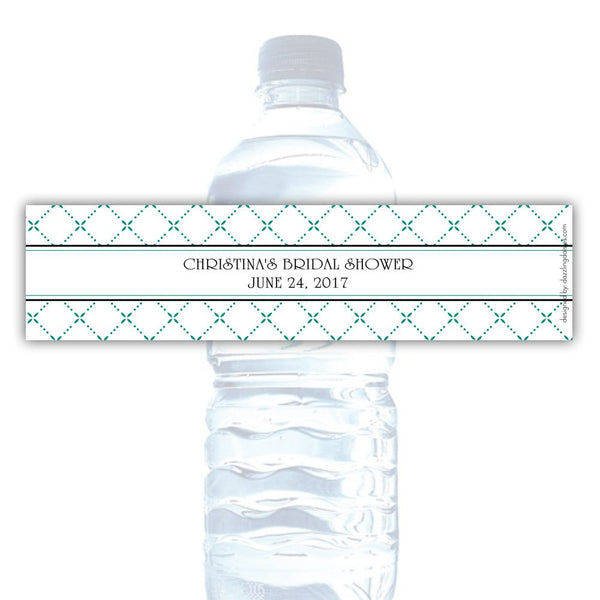 Water bottle labels 'Dazzling Diamonds' - Teal - Dazzling Daisies
