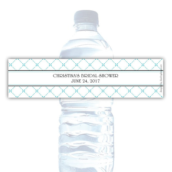 Water bottle labels 'Dazzling Diamonds' - Turquoise - Dazzling Daisies