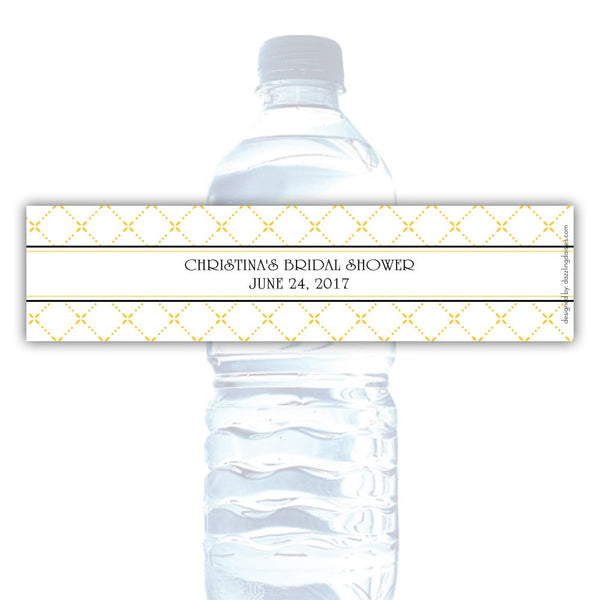 Water bottle labels 'Dazzling Diamonds' - Yellow - Dazzling Daisies