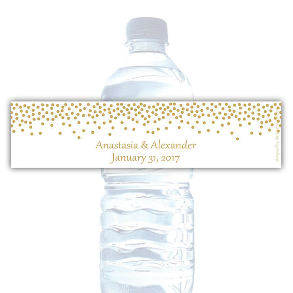 Water bottle labels 'Confetti Galore' - Gold - Dazzling Daisies
