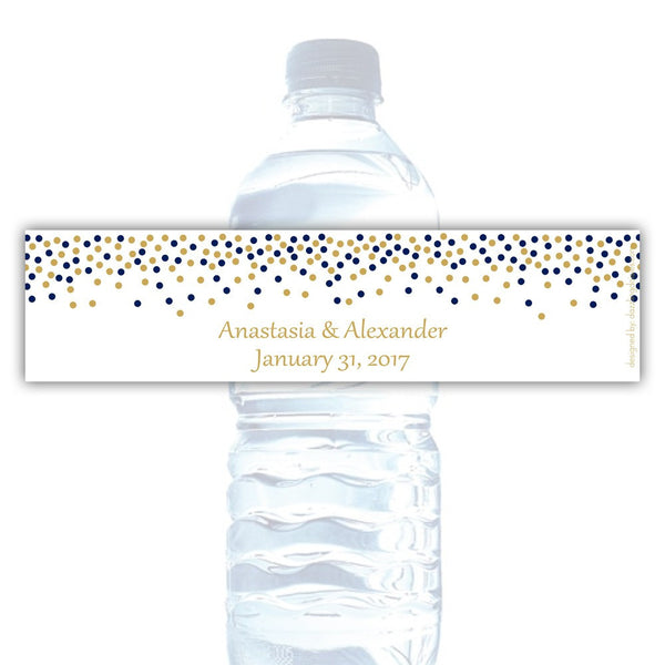 Water bottle labels 'Confetti Galore' - Gold/Navy - Dazzling Daisies