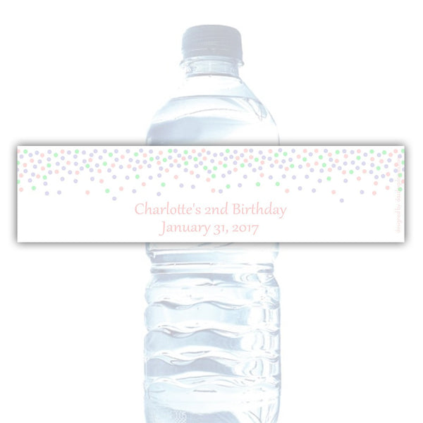 Water bottle labels 'Confetti Galore' - Blush/Mint/Lavender - Dazzling Daisies