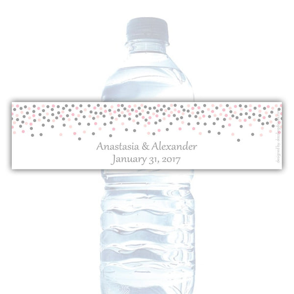 Water bottle labels 'Confetti Galore' - Silver/Blush - Dazzling Daisies