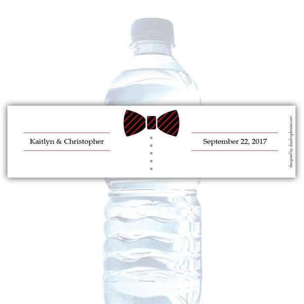 Water bottle labels 'Formal Attire' - Groom only / Indian red - Dazzling Daisies