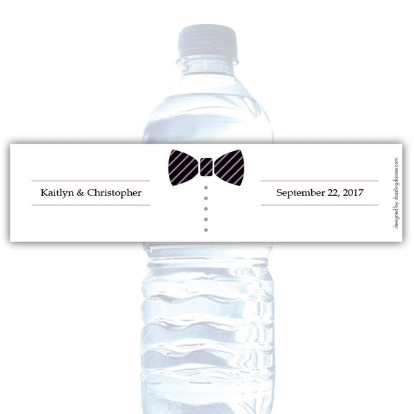 Water bottle labels 'Formal Attire' - Groom only / Plum - Dazzling Daisies
