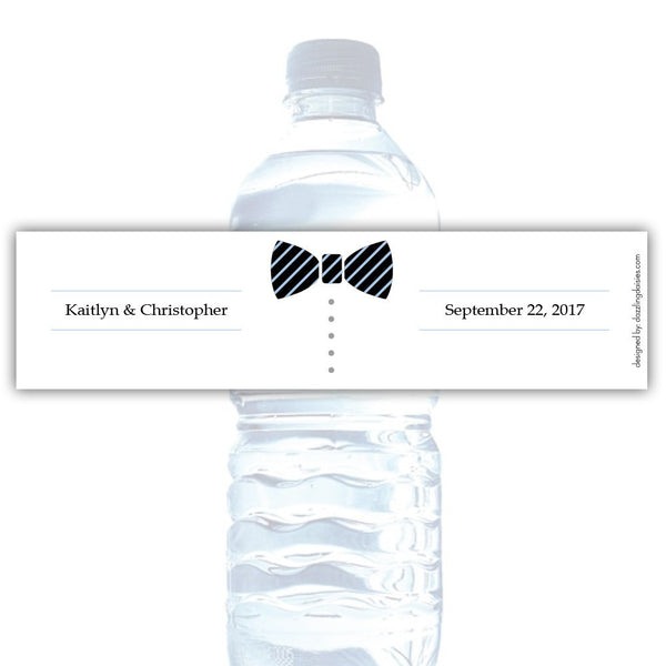 Water bottle labels 'Formal Attire' - Groom only / Steel blue - Dazzling Daisies