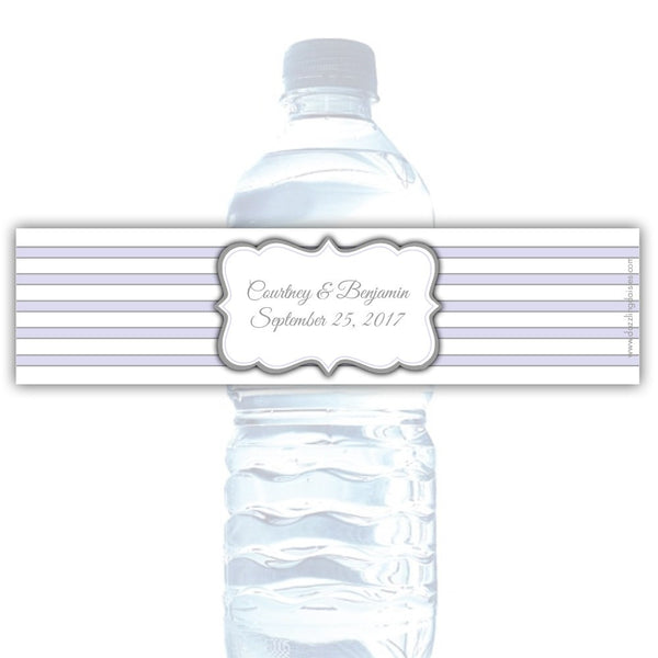 Water bottle labels 'Bold Lines' - Silver/Lavender - Dazzling Daisies