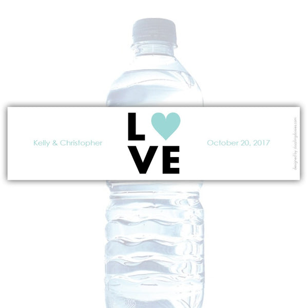 Water bottle labels 'Lettered Love' - Aquamarine - Dazzling Daisies