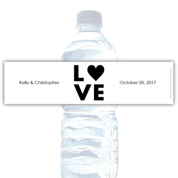 Water bottle labels 'Lettered Love' - Black - Dazzling Daisies