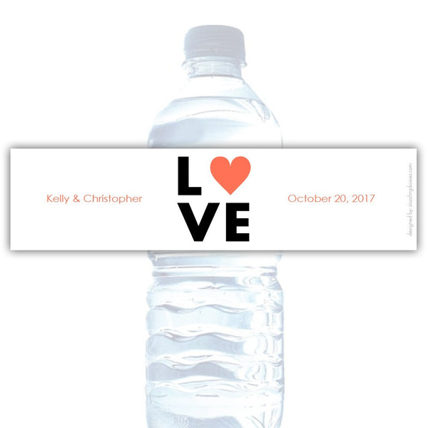 Water bottle labels 'Lettered Love' - Coral - Dazzling Daisies
