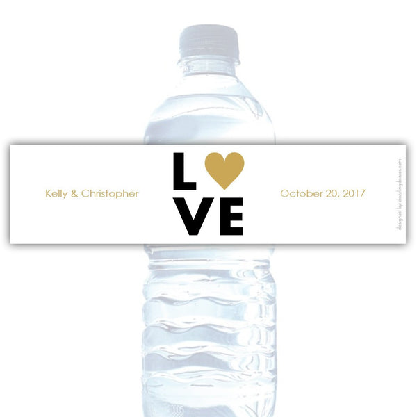 Water bottle labels 'Lettered Love' - Gold - Dazzling Daisies