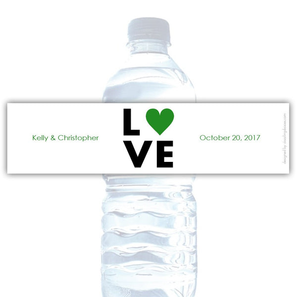 Water bottle labels 'Lettered Love' - Green - Dazzling Daisies