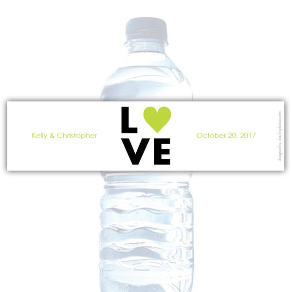 Water bottle labels 'Lettered Love' - Lime - Dazzling Daisies