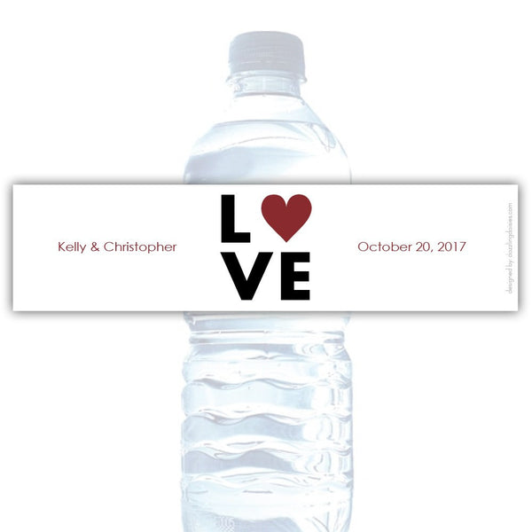 Water bottle labels 'Lettered Love' - Maroon - Dazzling Daisies