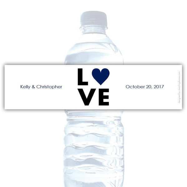 Water bottle labels 'Lettered Love' - Navy - Dazzling Daisies