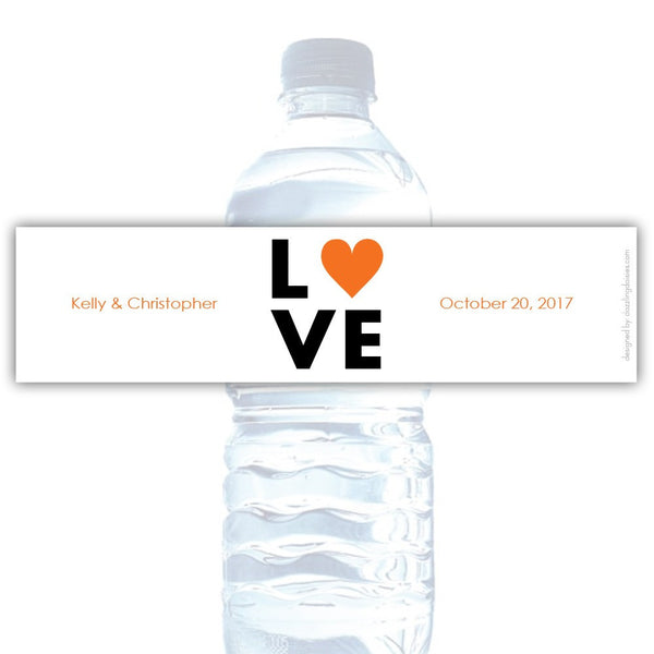 Water bottle labels 'Lettered Love' - Orange - Dazzling Daisies