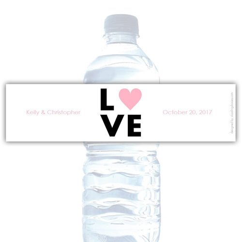 Water bottle labels 'Lettered Love' - Pink - Dazzling Daisies