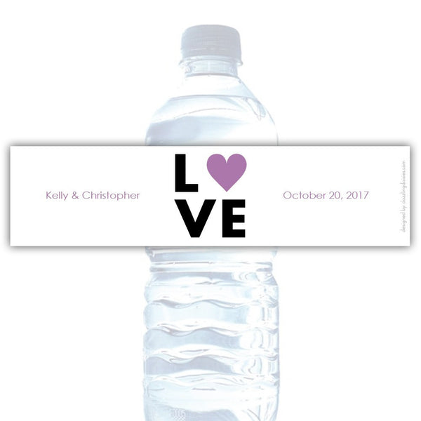Water bottle labels 'Lettered Love' - Plum - Dazzling Daisies