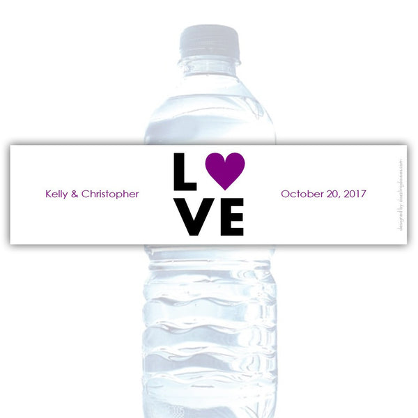 Water bottle labels 'Lettered Love' - Purple - Dazzling Daisies