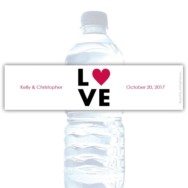 Water bottle labels 'Lettered Love' - Raspberry - Dazzling Daisies