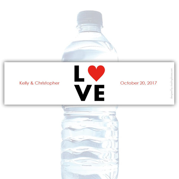 Water bottle labels 'Lettered Love' - Red - Dazzling Daisies