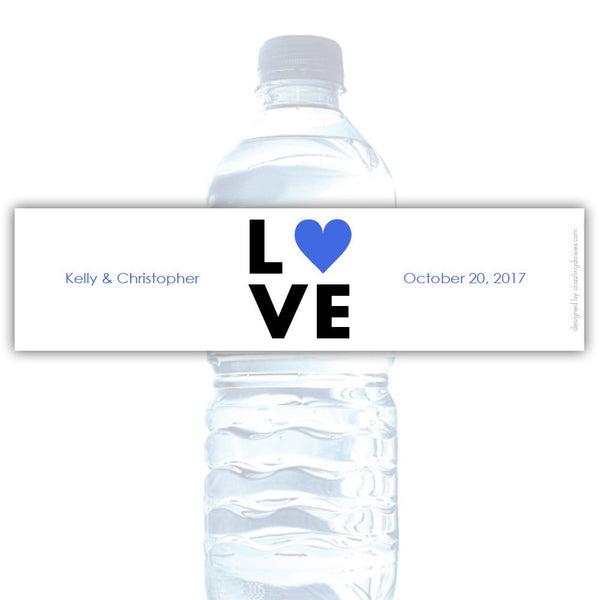 Water bottle labels 'Lettered Love' - Royal blue - Dazzling Daisies
