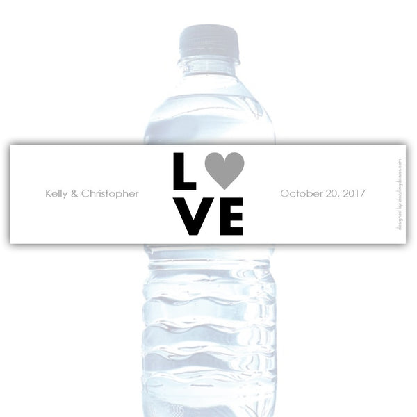Water bottle labels 'Lettered Love' - Silver - Dazzling Daisies