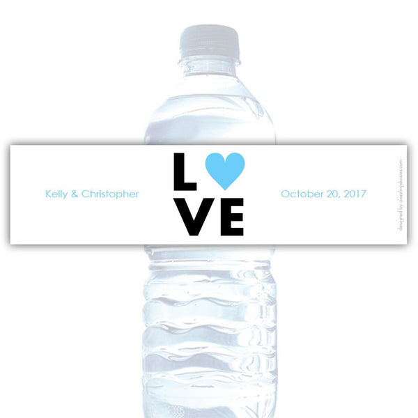Water bottle labels 'Lettered Love' - Sky blue - Dazzling Daisies