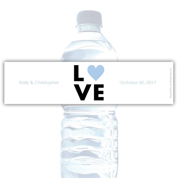 Water bottle labels 'Lettered Love' - Steel blue - Dazzling Daisies