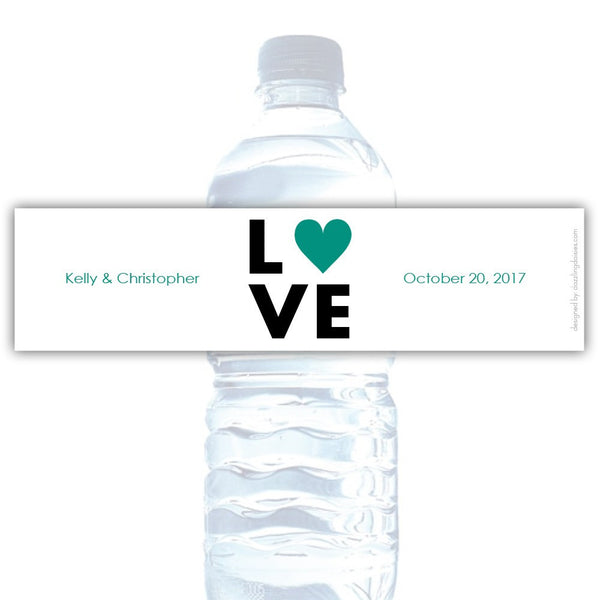 Water bottle labels 'Lettered Love' - Teal - Dazzling Daisies