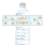 Melted snow water bottle labels - Gold/Sky blue - Dazzling Daisies