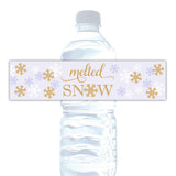 Melted snow water bottle labels - Gold/Lavender - Dazzling Daisies
