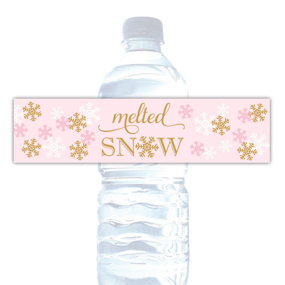 Melted snow water bottle labels - Gold/Aquamarine - Dazzling Daisies