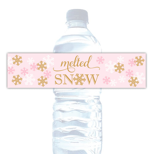 'Melted snow' water bottle labels - Gold/Pink - Dazzling Daisies