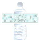 Melted snow water bottle labels - Gray/Aquamarine - Dazzling Daisies