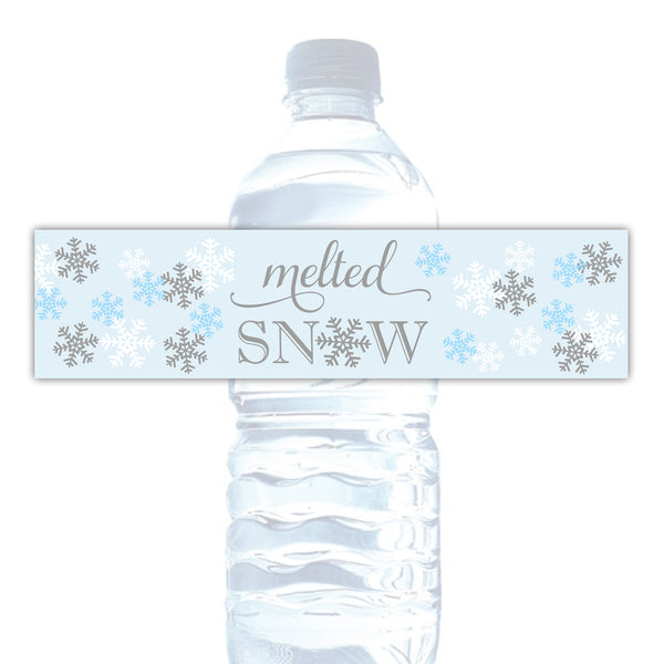 Melted snow water bottle labels - Gray/Sky blue - Dazzling Daisies