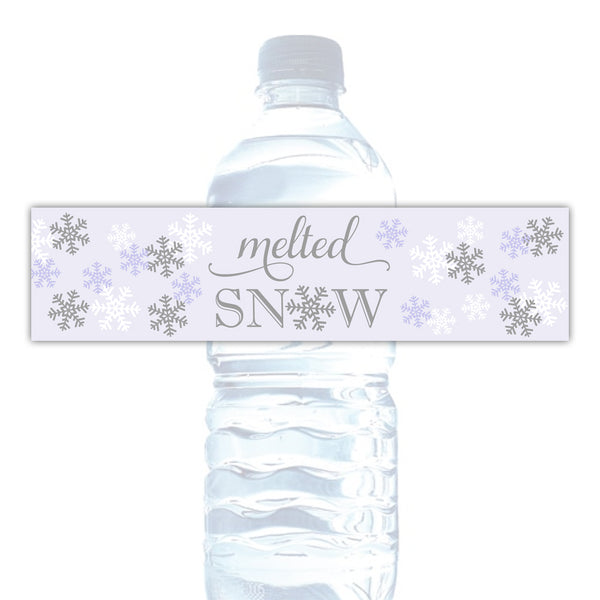 Melted snow water bottle labels - Gray/Lavender - Dazzling Daisies