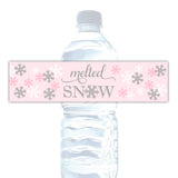 Melted snow water bottle labels - Gray/Pink - Dazzling Daisies