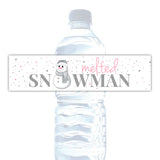 Melted snowman water bottle labels - Pink - Dazzling Daisies