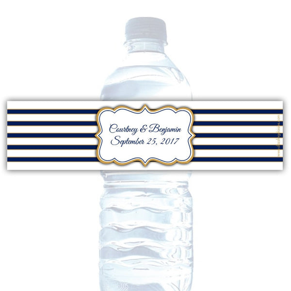 Water bottle labels 'Bold Lines' - Navy/Gold - Dazzling Daisies